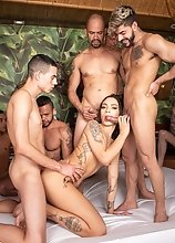 Hanna Rios: 13 Man Creampie & Swallowing Gangbang