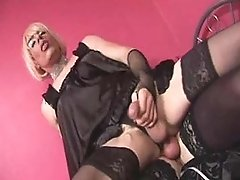 Slutty maid Zoe riding tgirl cock deep and hard