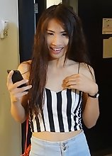21 year old small tits ladyboy sucks white cock and jerks off for cumshots
