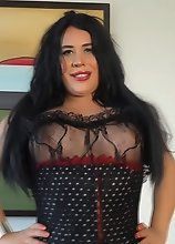 Voluptuous Tranny in Lace Bodystocking strokes and cums