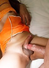 Orange Sheer Pushed in Creampie