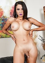 Watch busty tgirl Jennifer Revlon posing, shaking her ass and stroking her cock in this hot solo scene!