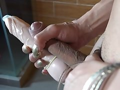 Big Tits Blonde shoves a Huge Dildo in her Asshole