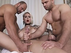 Danni Gets into a Fucking Threesome Cock Fiesta with Two Huge Dongs