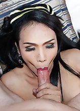Ladyboy Khawn - Black & Gold Stewardess Creampie