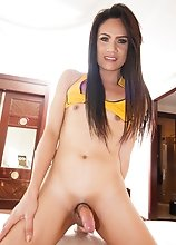 Ladyboy Khawn - Yellow Black Anal Beads & Creampie