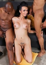Zoe is back for an explosive hardcore threesome! This sexy slim Texas tgirl gets both holes filled, a blowjob and lots of cum!
